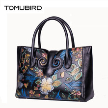 TOMUBIRD 2016 New women genuine leather bag fashion national wind hand embossing leather art bag women leather handbags
