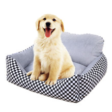 Fine joy Pet Dog Sofa Winter Warm Bed Rectangle Mat Cotton Canvas Fabric Paid Printing Removable Cover Pets Beds Products