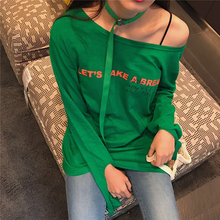 Hunterwish summer Personalized designT Shirt Women Bamboo Cotton Gap Long Sleeve Printed Letters of Long T-shirt Collar Belt