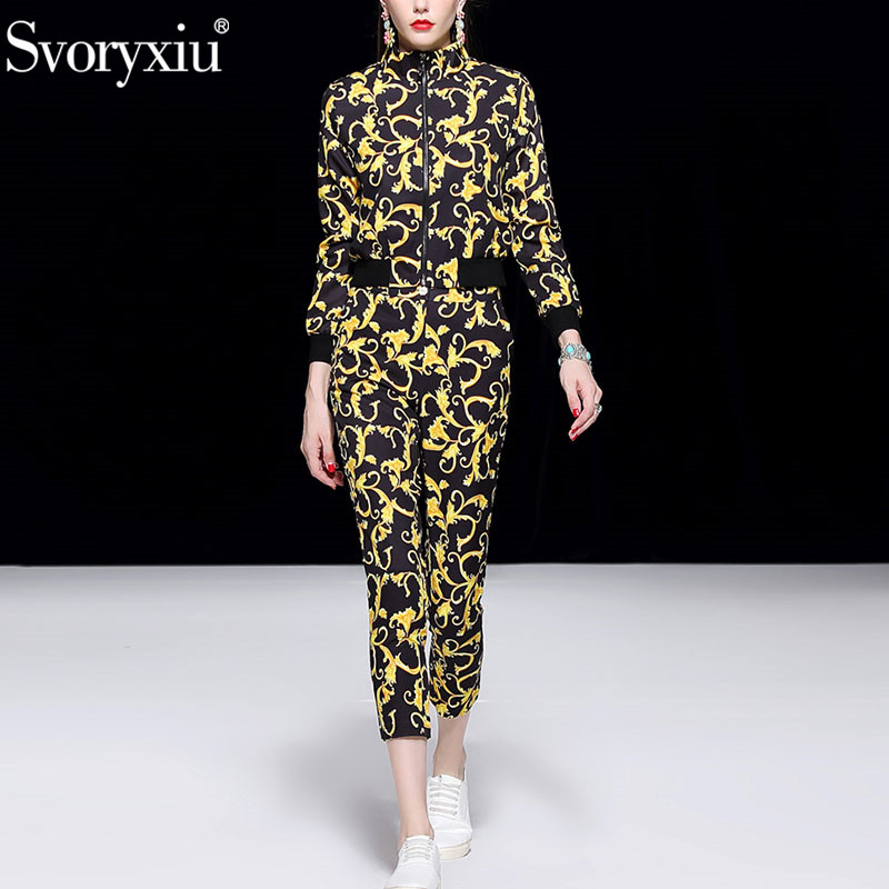 Svoryxiu 2018 Fashion Runway Women's Two Piece Set Long Sleeve Coat + Ankle Length Pants Vintage Baroque Print Casual Pants Set
