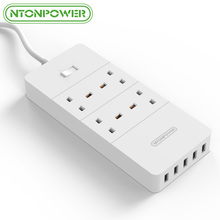 NTONPOWER HPC USB Power Strip UK Plug 4 AC Power Socket 5 USB Port Surge Protected Extension Cord Adapter 1.5M Power Cable