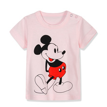 [Unini-yun] 2017 Brand New Summer Kids Tshirt 100%Cotton MIckey print Short Sleeves Mouse girls baby T shirts 6M/9M/12M/24M