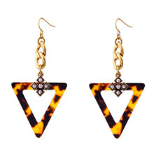 XQ Free shipping fashion jewelry fashionable woman alloy semi-precious stones restoring ancient ways leopard triangle ear hook
