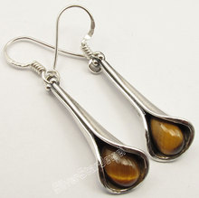 Chanti International Silver Exclusive BROWN TIGER'S EYE Drop WELL MADE Earrings 4.2 CM(China)