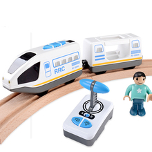 RC Electric Express Truck Magnetic Train With Carriage FIT Thomas wooden track Children Electric Toy Kids Toys(China)