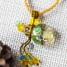 H&D 2pcs Handmade Beautiful Murano Crystal Glass Perfume Bottles Pendant Necklace Best Gift Random Color