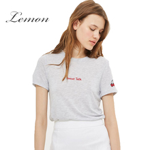 Lemon 2017 fashion European And American Fashion T-shirt Preppy Style cherry embroidery T-shirt Short Sleeve O Neck T-shirt(China)