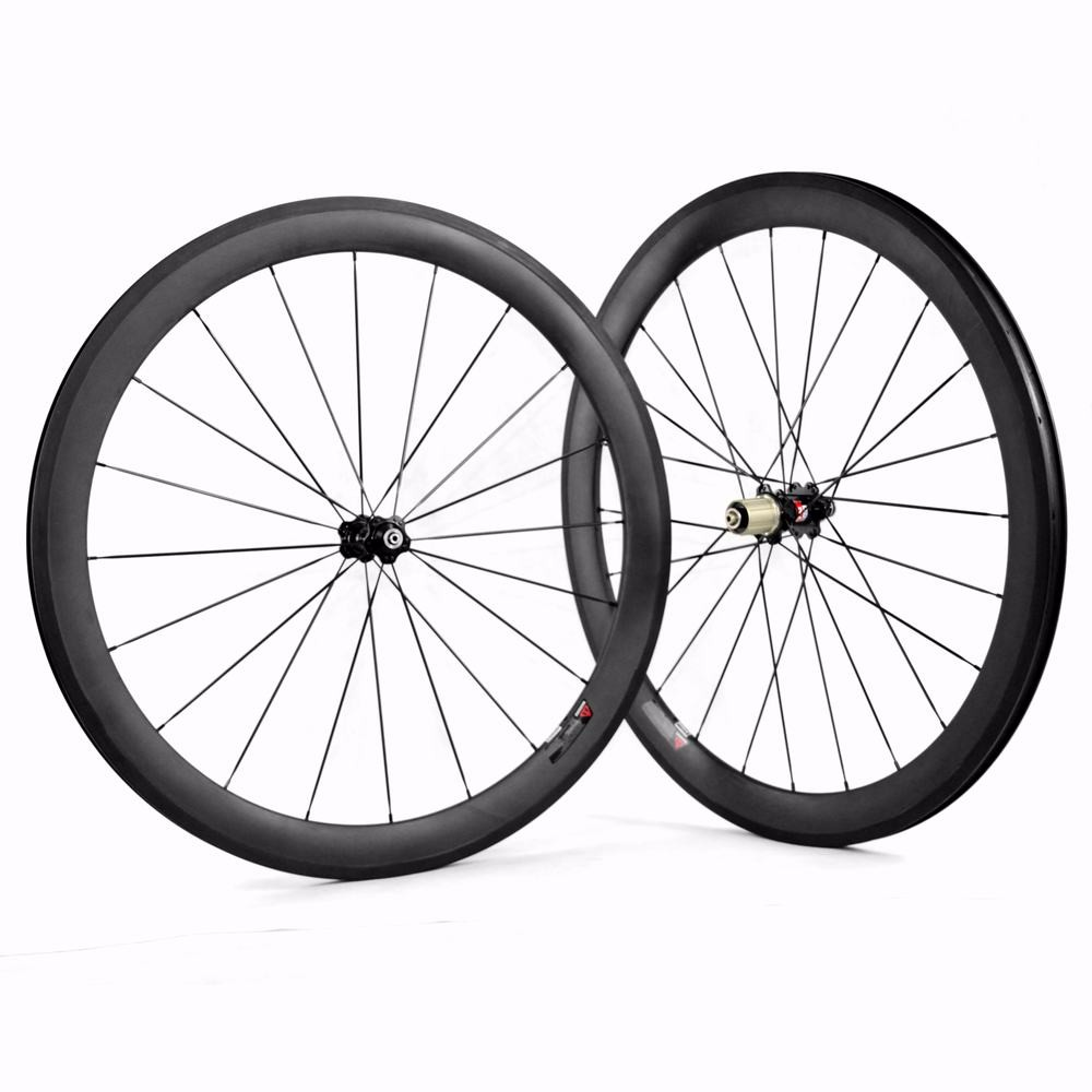 700c 50mm clincher carbon road bike wheelset for Shimano Sram or Campagnolo