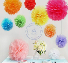 30cm=12 inch Tissue Paper Flowers pom poms balls lantern Poms Party Decor Craft For Wedding Decoration Poular multi Wholesale(China)