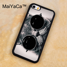 MaiYaCa Cute Animal Cat With Glasses Printed Soft Rubber Mobile Phone Cases For iPhone 5 5S Back Cover For iphone SE Shell Cover(China)