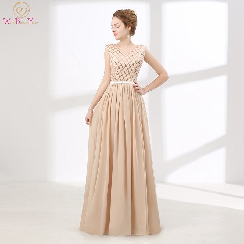 Stock Prom Dress Sequined Hot Sale A-line Chiffon Lace-up V-neck Floor Length Sleeveless Vestiti Eleganti Donna Cerimonia Sera