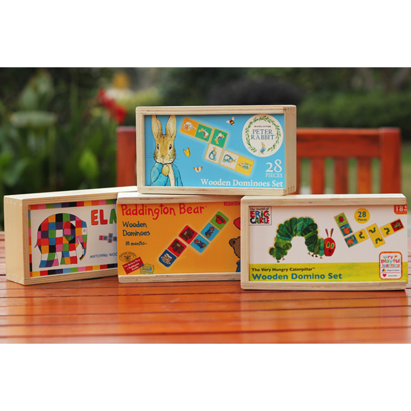 Eric Carle The Very Hungry Caterpillar Domino Set Wooden Jigsaw Puzzle Classic DesktopDominoes Game Kids Educational Toy oyuncak<br><br>Aliexpress
