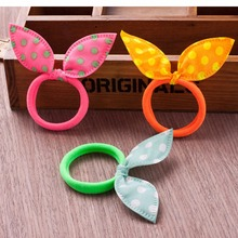 10 pcs/lot Girl hair accssories Elastic Hair Rubber kids Rabbit Ears Head Accessories(China)