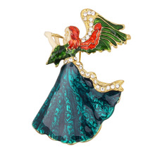 Angel Wings Music Angel Brooch For Women Girl Dress Accessories Green & White Crystal Brooch Rhinestone Pin(China)