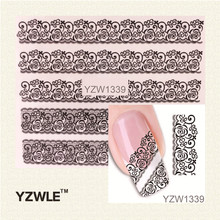 YZWLE 1 Sheet Black Lace Flowers Watermark Nail Sticker, Water Transfer Nail Decals For UV Gel Polish Nail Decoration Tools