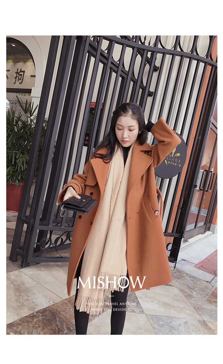 Mishow 19 autumn and winter woolen coat female Mid-Long New Korean temperament women's popular woolen coat MX17D9636 37