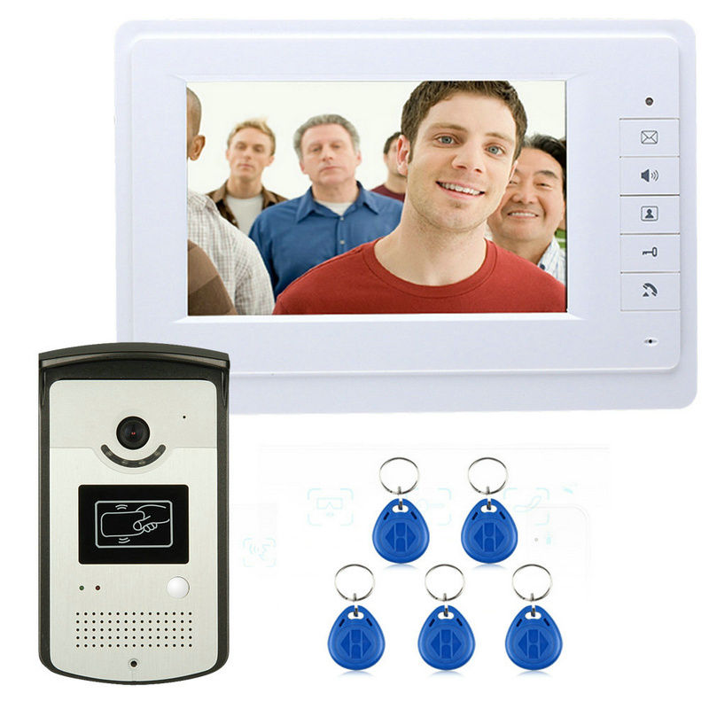 New 7 inch Color Video Door Phone Intercom Doorbell System + 1 Monitor + RFID Access Waterproof Camera In Stock<br><br>Aliexpress