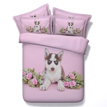3D Dog print Comforter sets Pink Rose Bedding duvet cover bed sheets quilt doona linen California King Queen size full twin 5PCS