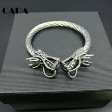 CARA New Men Punk Opening Twisted BRACELET double Dragon head Wrist Dragons vintage silver color norse viking Bangle CARA0044(China)