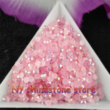 10000pcs/bag,SS12 3mm Light pink AB Color Jelly Resin Crystal Rhinestones Nail Art Applique painting rhinestone for nails DIY(China)