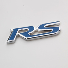 Auto Blue Metal RS Sport Fender Hood Emblem Decals Badge Auto Styling Sticker Fit for Hyundai Chevy Camaro