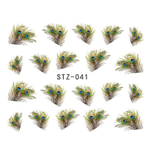1sheets Fashion Lovely Eye Feather Nail Art Water Transfer Stickers Nails Tips French Decals Foils Polish Nail Accessory STZ041(China)
