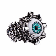 2016 New Hot Sale Men's Party Titanium Steel Gothic Punk Vintage Antique Silver Evil Eye Skull Claws Finger Ring Gifts 2 Color