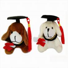 Plush Sweet Little Graduation Dog Toy With Hat and Book 7cm Formatura dog 30Pcs/lot(China)