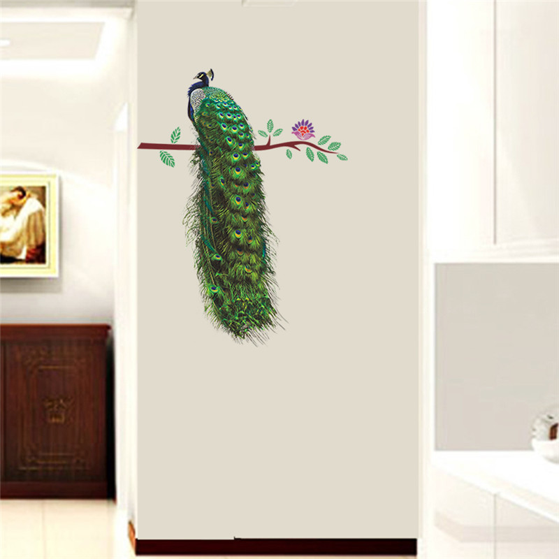 HTB1gvzDSFXXXXaMXXXXq6xXFXXXP - % Animals Peacock On Branch Feathers Wall Stickers 3d Vivid Wall Decals Home Decor Art Decal Poster Animals Living Room Decor