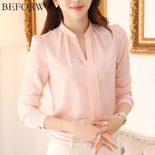 BEFORW Women Chiffon Blouses Summer Fashion White Pink Womens Clothing Tops Shirt Sexy V Neck Business Office Women Blouses(China)