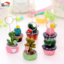 CUSHAWFAMILY Mini Ceramic cactus potted  desktop figurines message note clip pictures photo holder Home decor Arts crafts gifts