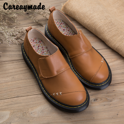 Careaymade-2018 new spring and autumn handmade Genuine Leather leisure Shoes,thick bottom Japanese style female single shoes<br>