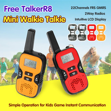 2x Red Portable Mini Kids Walkie Talkies 22 Channels FRS GMRS UHF Handheld Two-Way Radio for Kids Game Instant Communication