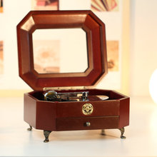 Wool microelectro mechanical turntable music box jewelry box birthday gift male wedding Christmas gift free shipping(China)