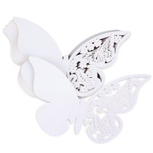 50 pcs Name Card Place card Paper Butterfly WHITE Wedding Cake Cap Deco