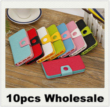 10pcs discount  wholesale New Korea Contrast color leather case For apple iphone5 5s 5G flip cell phone bag stand cover in stock