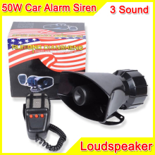 100W 3 Sound Car Electronic Warning Siren Motorcycle Alarm Police Firemen Ambulance Loudspeaker With MIC Police Siren