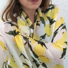 2017 Luxury Brand 100% Pure Silk Scarf Lemon Tree Floral Silk Shawl Spain Fashion Print Scarves Summer Beach Hijab Foulard Sjaal(China)