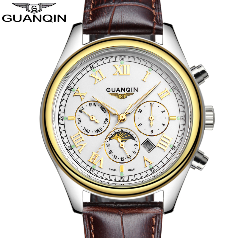 GUANQIN Luxury Brand Men Watches Casual Mens Business 24 Hours Date Luminous Quartz Watch Leather Waterproof Relogio Masculino<br>