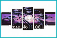Framed 5 Panel Large quadros Purple Painting Tree Landscape Sunset Wall Art Picture Home Decoration A0113