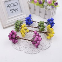 20pcs/lot 40heads Mini Plastic Artificial Flannel berry Fake flower for wedding party festival car home garden decoration flower(China)