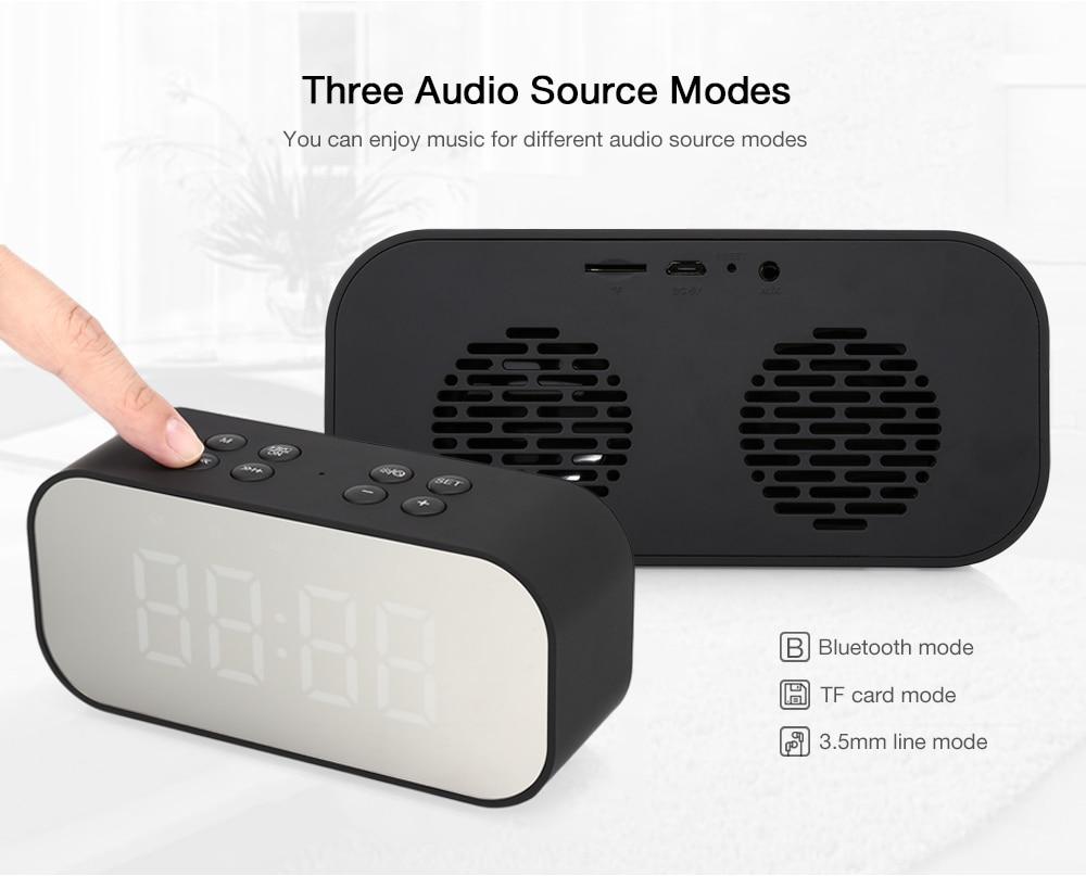 Portable Wireless Bluetooth Speaker with Mirror Alarm Clock