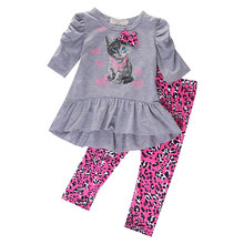 Kids Baby Girls Cat Printed T-shirt Tops Dress+Leopard Pants 2PCS Outfits Set 2016