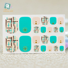 Y5539 Fashion sexy beauty Auto Stick Toe Nail Art Foil Stickers Green Golden Figure Manicure Adhesive Decal Nail Wraps