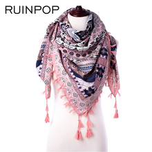 RUINPOP Fashion Girls Scarf Ladies Winter Scarf Women Shawl Tassel Scaves Woman Retro Thick Soft Female Warm Bufandas Kerchief(China)
