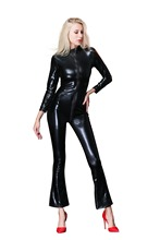 Buy Lenceria Sexy Costumes Women Plus Size Lingerie Medias Latex Catsuit Black Pole Dance Night Party Club Wear Sheer Bodysuit