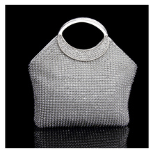 Silver handbags women famous brands For Wedding Party Evening Bags Small Purse Full Rhinestones Bags carteira feminina