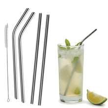 4Pcs Reusable Straight / Bent Drinking Stainless Steel Straws With 1 Pc Cleaning Cleaner Brush For Yeti 20 Ounce Tumbler(China)