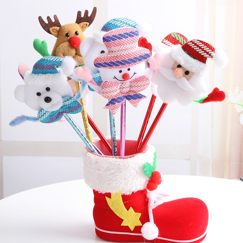 12PCS Santa caluse deer snowman Ball Pen Merry Christmas Gift for children Birthday Party Favors Souvenirs Christmas Ornament(China)