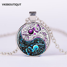 3/Color New Tai Chi Butterfly Glass Cabochon Pendant Vintage Jewelry Silver Chain Necklace Women Men Best Gift(China)